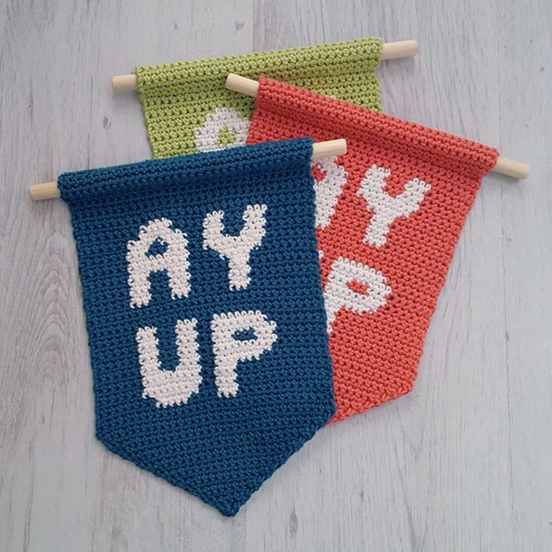 Ay Up Wall Hanging Crochet Pattern by April Towriess