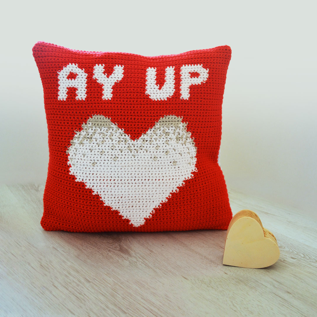 Ay Up Love Cushion Crochet Pattern by April Towriess