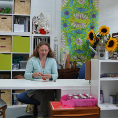 Jess Kemp at her studio table