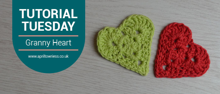 Crochet granny square hearts in lime green and red dk weight cotton.