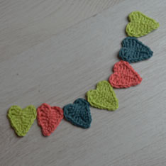 Mini crochet heart garland